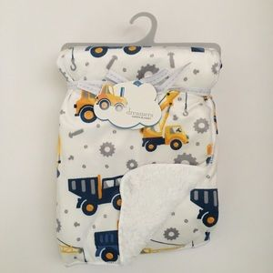 NEW Dreamers Baby Blanket Sherpa Construction Work